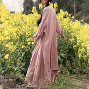 Women Pleated Long Sleeve Pink Maxi Dress