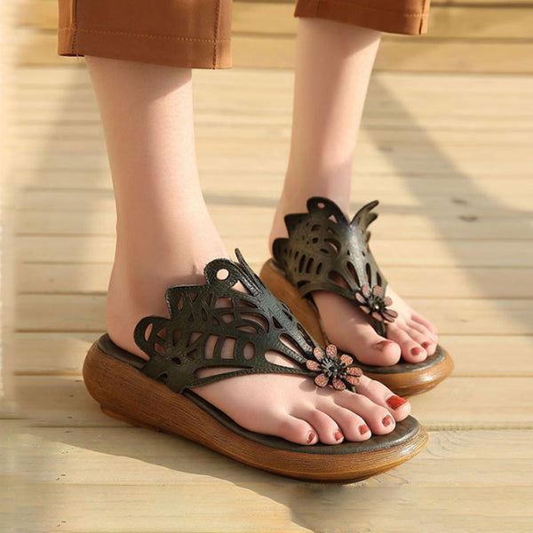 Women Summer Casual Leather Shoes Green Portable Slippers