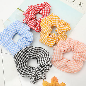 Plaid Adult Lady Retro Hair Accessories Rope (5 Pieces)