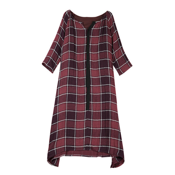 Women Casual Loose Cotton Linen V Neck Long Sleeve Spring Dress Purple