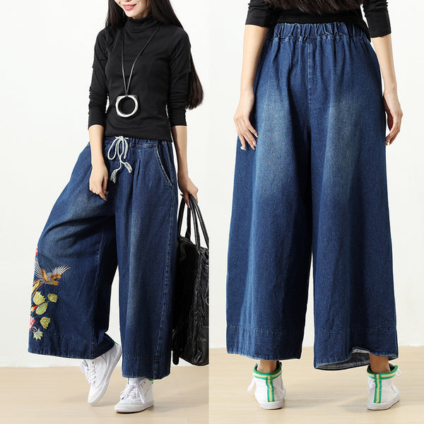 Pockets String Embroidery Retro Elastic Waist Denim Wide Leg Pants - Buykud