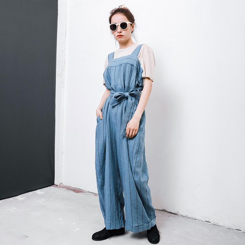 Casual Striped Adjustable Strap Loose Jumpsuit