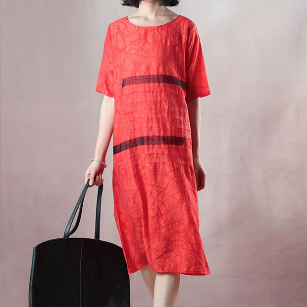 Casual Loose Short Sleeve Round Neck Red Dress
