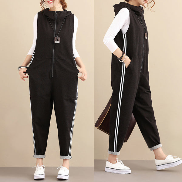 Simple Cotton Sleeveless Casual Black Hoody Women Jumpsuits