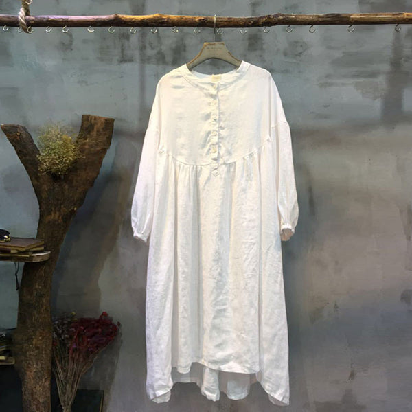 Spring Linen Round Neck Loose White Dress