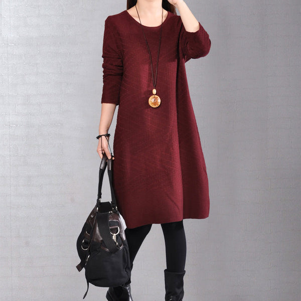 Autumn Round Neck Women Simple Knitted Red Dress