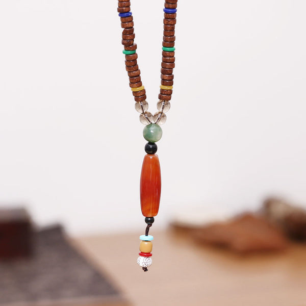 Ethnic Women Bead Wooden Casual Retro Necklaces - Buykud