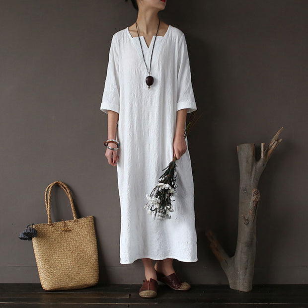 Women Cotton Jacquard Literature Retro Elbow Sleeve White Dress - Buykud