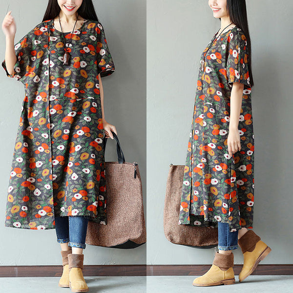 Printing Women Splicing Linen Loose Dark Green Dress