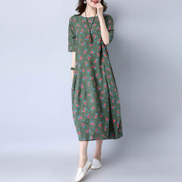 Casual Round Neck Floral Women Green Dress