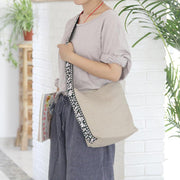 Casual Canvas Print Linen Shoulder Bag