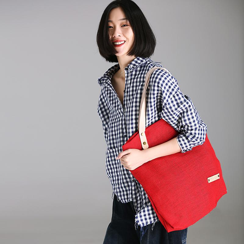 Canvas Female Big Bag Red Shoulder Bag