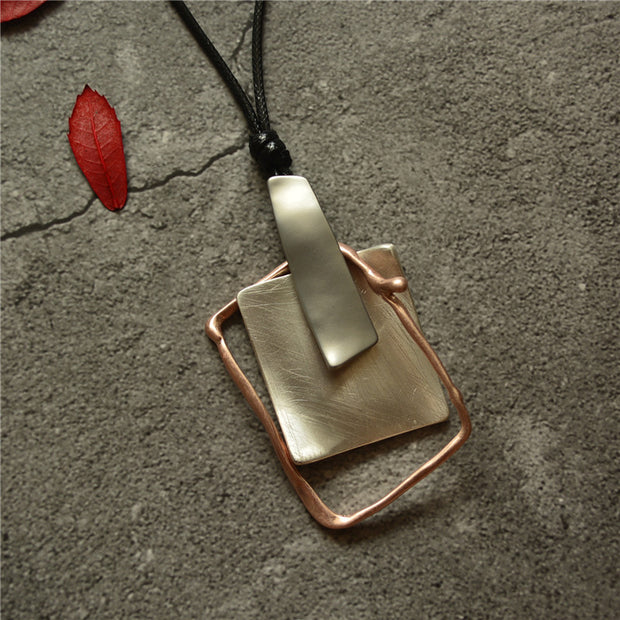 Buykud Simple Casual Geometric Pendant Long Necklace