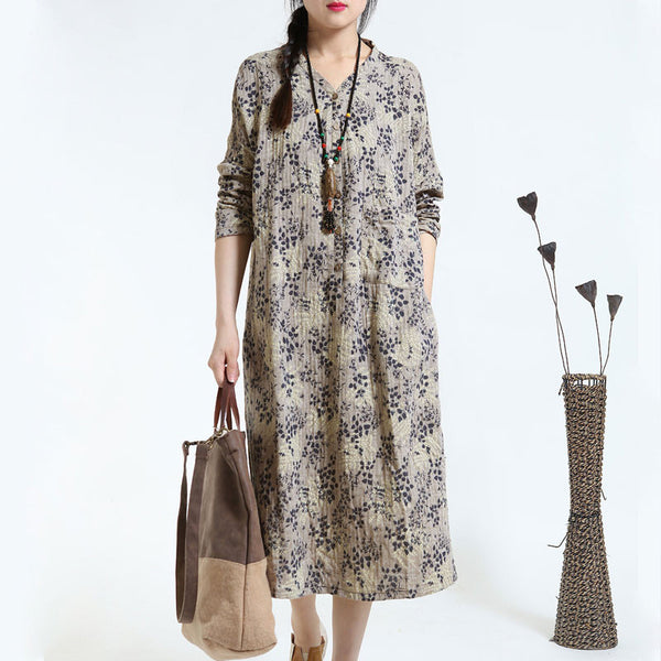 Autumn Retro Print Loose Long Sleeve Gray Dress