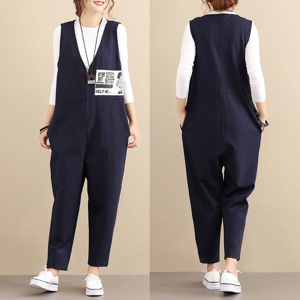 Fashionable Chic Image Cotton Sleeveless Zipper Blue Women Jumpsuits - Buykud