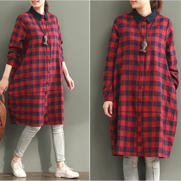 Women Casual Loose Cotton Shirt Dress Red