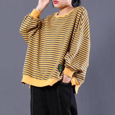 Long Sleeve Cotton Fall  Round Neck Striped Red Yellow Regular  Top