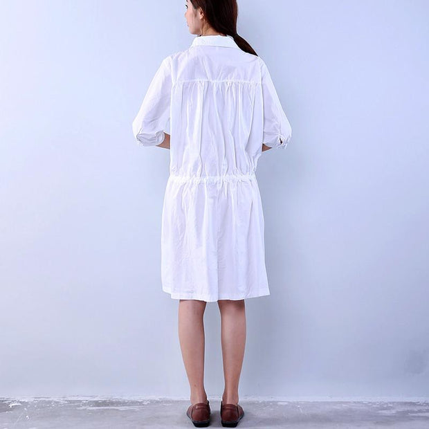 Cotton Loose Pocket Women Lacing White Dress