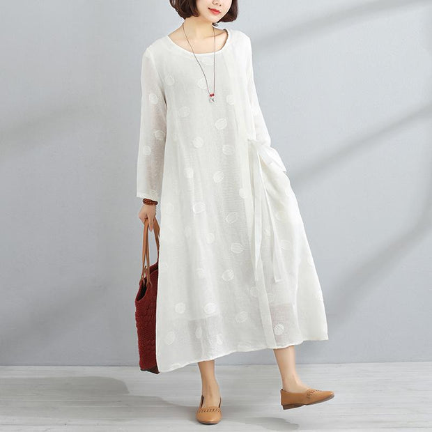 Casual Round Neck Long Sleeve Women White Lacing Dress