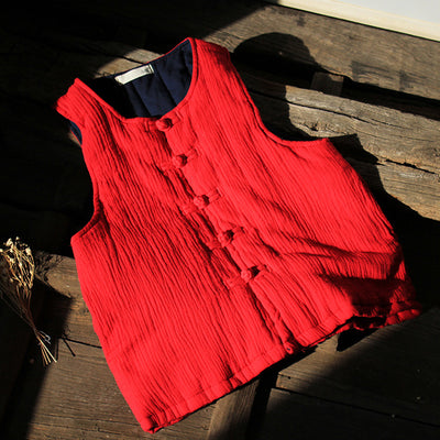 Sleeveless Cardigan Vintage Retro Women Cotton Waistcoat