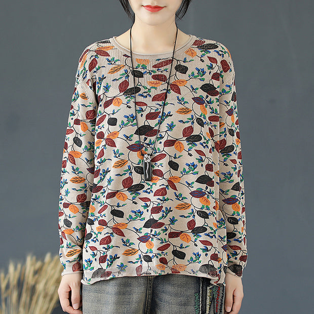 Buykud Loose Leaf Print Casual Knitted Shirt