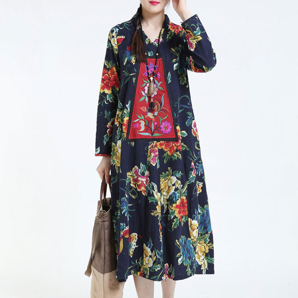 Cotton Linen Embroidery Loose Navy Blue Dress