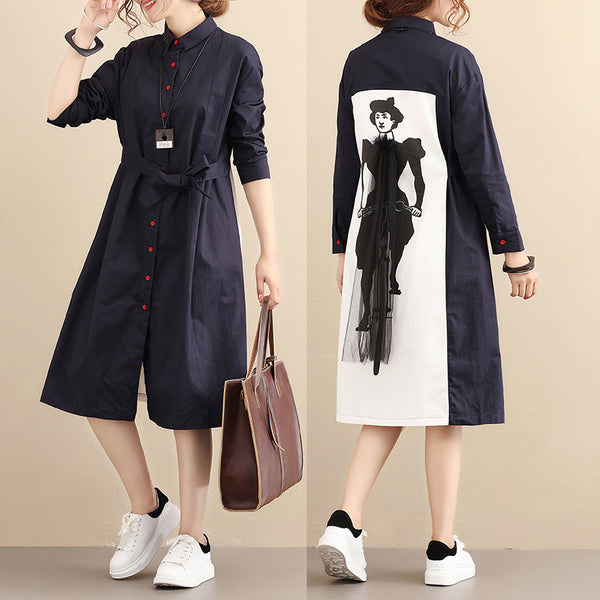 Polo Collar Long Sleeves Back Printing Chic Design Blue Women Dress - Buykud