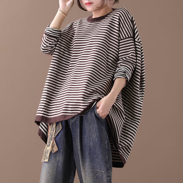 Buykud Ultra-loose Classic Striped Round Neck Top