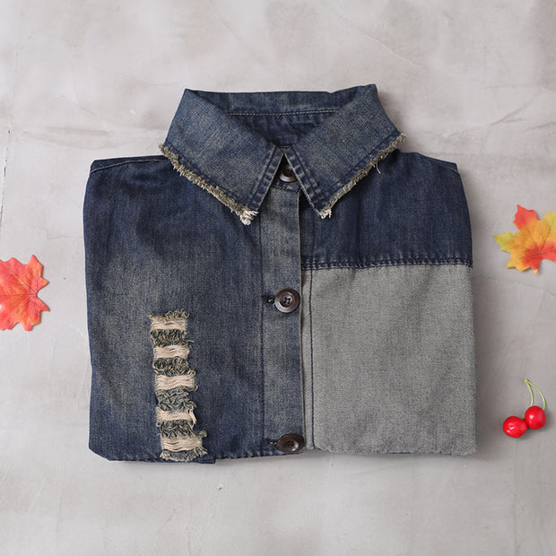 Buykud Letter Printed Hole Burr Casual Denim Dress