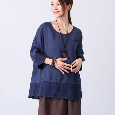 Linen Round Neck Women Navy Blue Shirt Wide Leg Pant - Buykud