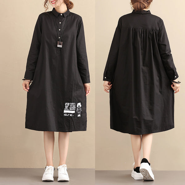 Casual Loose Cotton Long Sleeves Pleated Black Dress - Buykud