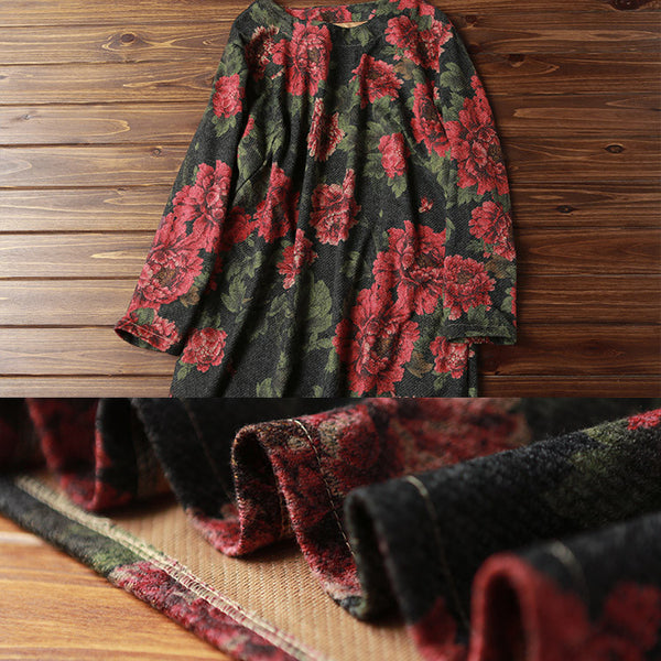 Women Casual Loose Print Autumn Long Sleeve Dress