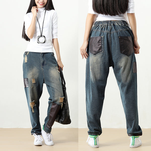 Women Pockets Splicing Distressed Casual Elastic Waist Denim Pants - Buykud