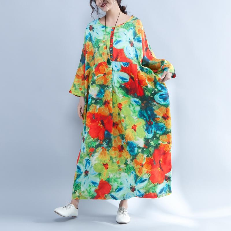Colorful Printed Round Neck Long Sleeve Spring Dress