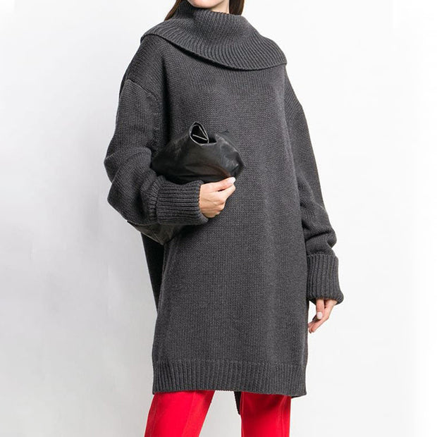 Buykud Autumn Winter Loose Turtleneck Cloak Style Sweater