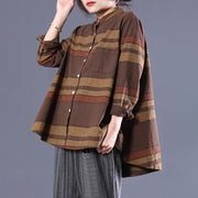 Cotton Loose Striped Stand Collar Shirt