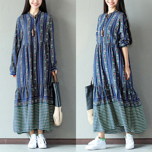 Folded Cotton Floral Loose Linen Women Splitting Blue Dress - Buykud
