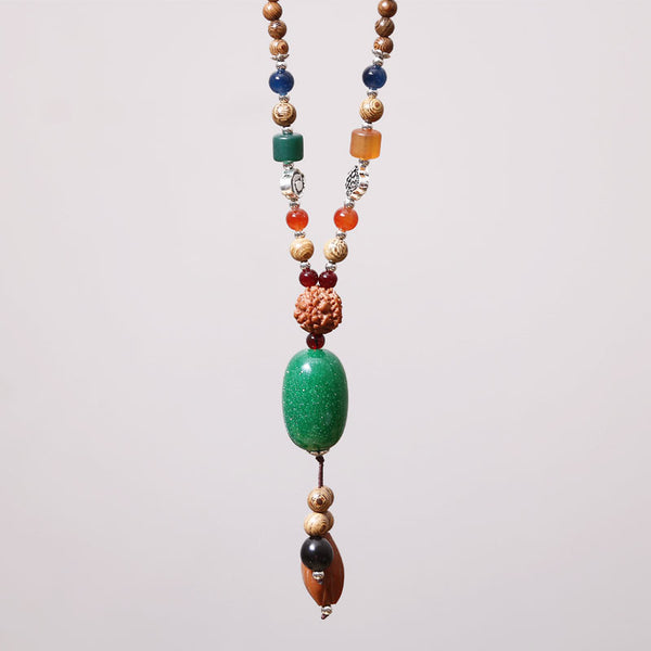 Accessory Ethnic Wooden Walnut Bead Necklace