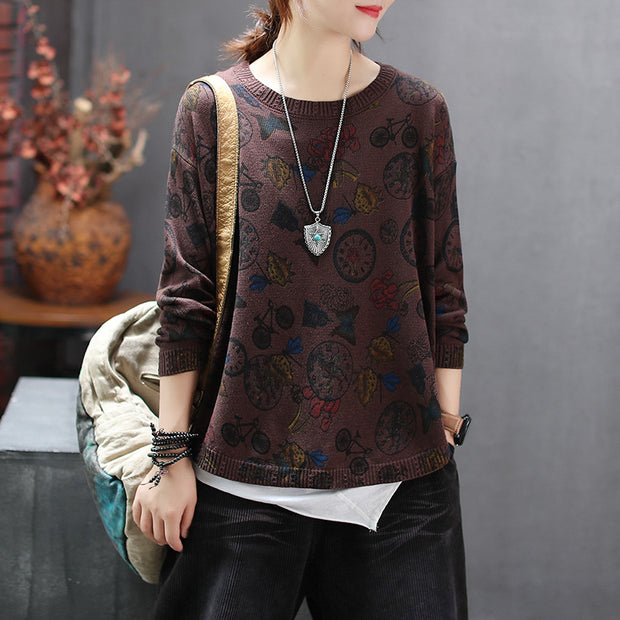 Buykud Retro Printed Autumn O-neck Knitted Sweater
