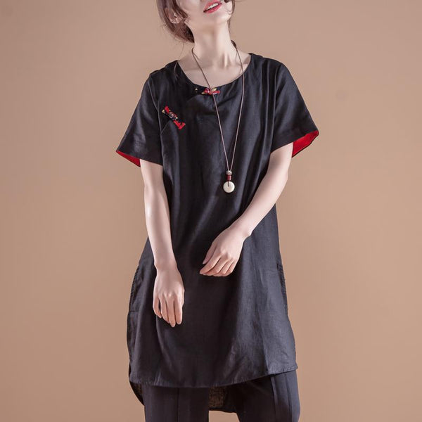 Ethnic Women Short Sleeve Irregular Black Tops