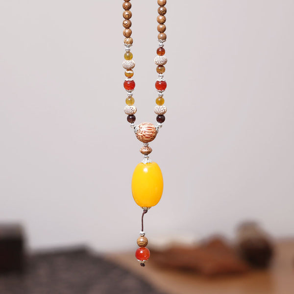 Women Retro Ethnic Vintage Wooden Bead Necklace - Buykud