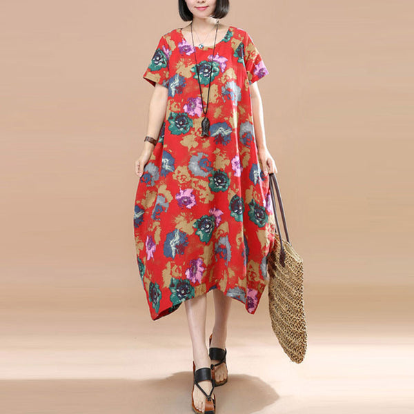 Retro Floral Printing Short Sleeve Pocket Loose Women Summer Red And Green Dress