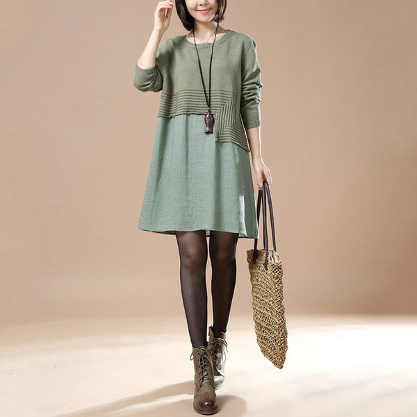 Autumn Round Neck Long Sleeve Stitching Knit Sweater