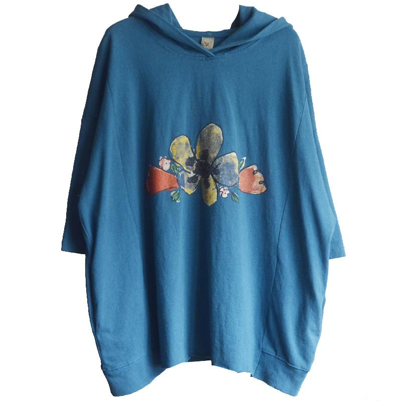 Cotton Print Loose Hooded Women Blouse