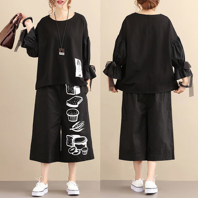 Sweet Pagoda Sleeve Chic Image Splicing Loose Women Black Shirt - Buykud