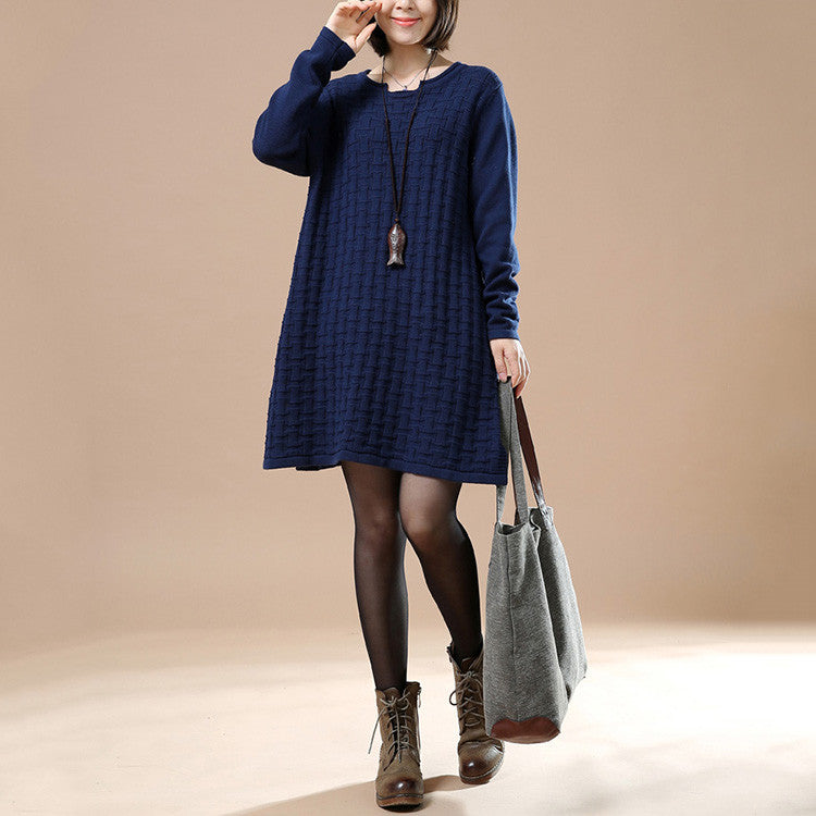 Autumn Navy Blue Casual Long Sleeve Round Neck Knit Sweater