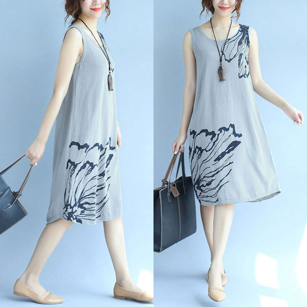 Women Retro Casual Slim SleevelessDress