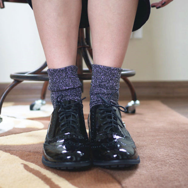 Women Autumn Winter Thick Warm Navy Blue Socks - Buykud