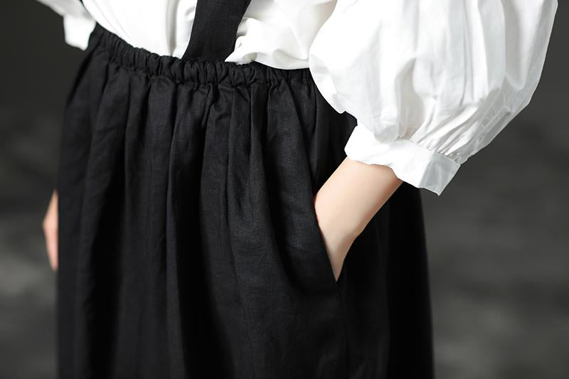 Black Casual Loose Women Summer Suspender Skirt