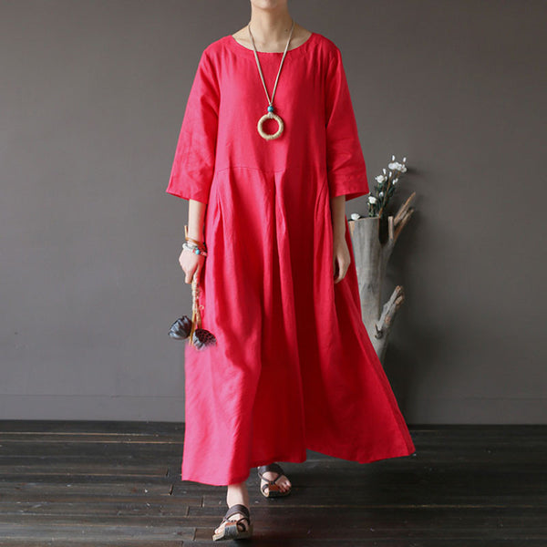 Summer Linen High Waist Pleated Red Dress